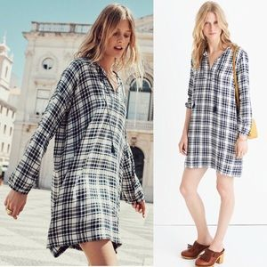 Madewell Coastal Blue Plaid Tassel Shift Dress